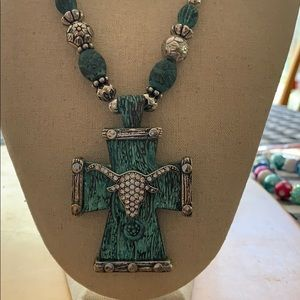 Jewelry - Cowgirl cross necklace rhinestones new